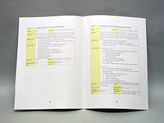 マニュアル 仕上サイズ:A4、本文:コート、仕様:両面、製本仕様:中綴じ36頁止